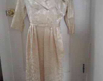 50's Janelle of California Cream Satin Damask Wiggle Dress Bridal Formal Medium