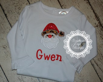 Santa - Christmas Applique Design - Boys or Girl's Christmas Shirt