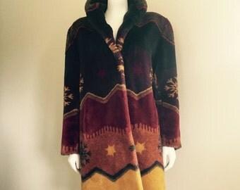 Faux Fur / Southwestern Coat / 1990s / Autumn Colors / Boho Winter Coat / Austria