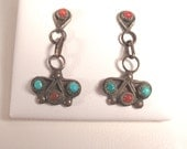 Reserved 4 ChristineSterling Zuni Turquoise Coral Dangle Earrings Blue Turquoise Vintage Fred Harvey Era Snake Eyes Sunrays Flower Petals
