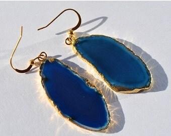 SALE Agate Slice Earrings - Blue Agate Slice Earrings - Gold Agate Slice Earrings - Gemstone Slice Earrings - Long Stone Earrings
