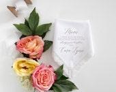 Mother of the Bride Printed Lace Handkerchief.  Wedding Hanky. Hankie Gift