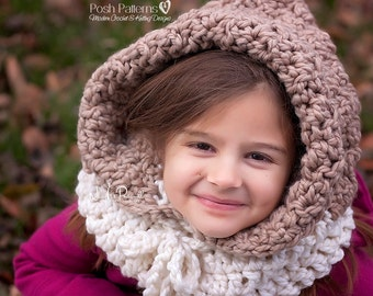 CROCHET PATTERNS - Hooded Cowl Pattern - Hooded Cowl - Hooded Scarf - Crochet Patterns for Kids - Baby, Toddler, Kids, Adult Sizes - PDF 398