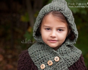Crochet Patterns - Digital Download Crochet Pattern - Crochet Scarf Pattern - Crochet Hood Pattern - Toddler, Child, Adult Sizes - PDF 113