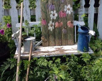 Picket Fence with handpainted flowers