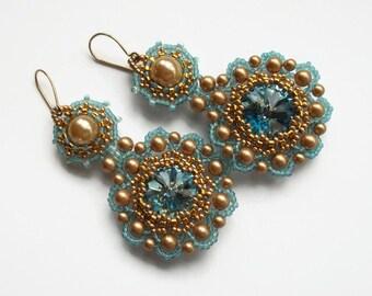 Long dangle earrings Swarovski element seed bead jewelry silver light turquoise.