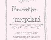 Reserved listing for jmcopeland