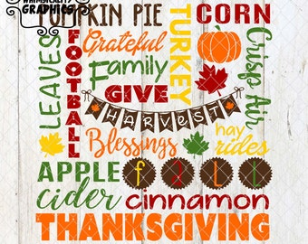 Fall Harvest Thanksgiving Subway Art with SVG, DXF, PNG Commercial & Personal Use
