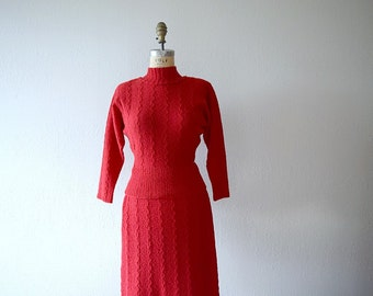 Vintage 1940s knit set . 40s 50s red knit dress
