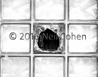 Broken Glass Blocks, Chicago archival fine art black and white inkjet photograph