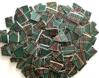 SALE - Mosaic China Tiles - Green TARTAN PLAID - Recycled Plates - 100 Tiles