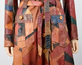 Vintage 1970's Women's  MuLti-CoLoReD PaTcHwOrK Leather HiPPiE DiScO Long Coat Jacket M