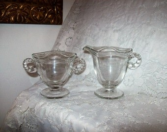 Vintage Crystal Glass Sugar & Creamer w/ Beaded Handles Coronet by Fostoria Only 6 USD