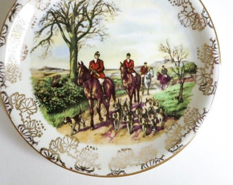 Midwinter Staffordshire Butter Pat, Pin Dish, Tea Bag Holder - English Hunting Scene with Dogs, Horses, Riders - Gift for Her or Him