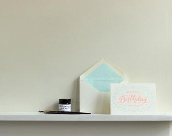 Happy Birthday Neon Letterpress Greeting Card