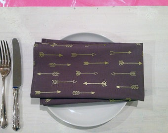 Arrows Cloth Napkin Set Metallic Gold Chocolate Grey Cotton Reusable Eco Friendly