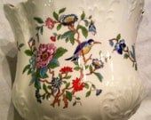 """1/2 Price Was 50.00 now 25. 00 Victorian Style Cache Pot Aynsley Pembroke White Porcelain Gold  6"""" Bird Peonies peony Scalloped Edge vase"""