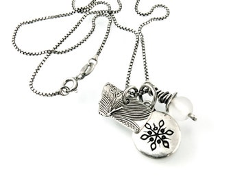 Sterling Silver, Snowflake, Charm Necklace, Snowflake Charm, Snowflake Necklace, Winter Jewelry, Glass Bead, Montana, Snowball, 1076c