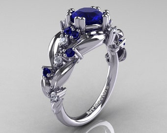 Nature Classic 14K White Gold 1.0 Ct Natural Blue Sapphire Diamond Leaf and Vine Engagement Ring R340-14KWGDNBS