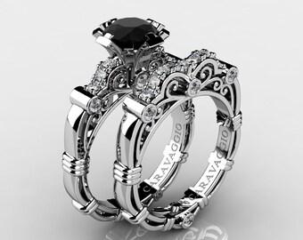Art Masters Caravaggio 14K White Gold 1.0 Ct Black and White Diamond Engagement Ring Wedding Band Set R623S-14KWGDBD