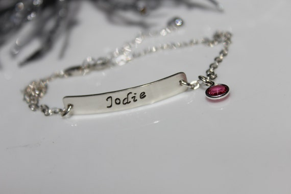 Personalized Anklet- Sterling Silver Hand Stamped Bar with Sterling Silver Chain and Swarovski Crystal Birthstone