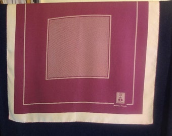 Vintage Classic Burberrys Silk Scarf Maroon Beige 28 x 30 Made in Italy