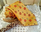 Mid Century Necktie in Yellow - Unisex Vintage Tie, Yellow Dot Pattern, Vintage Suit Accessories, Silky Tie, Fathers Day, Retro Gift for Him