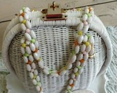 Vintage White Wicker Purse With Beaded Handles + Trim - Spring or Summer Handbag, Clam Shell Bag, Made in Hong Kong, Pastel Beaded Purse