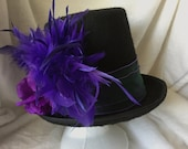 Hat, Tophat, Purple Flower Tophat, Fancy Tophat, Spring Flowered Tophat