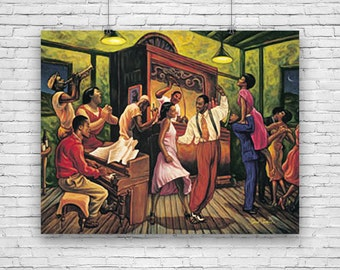 Swing Night, by Artist Sarah Jenkins African American Art, Print Poster