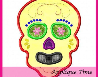 Instant Download Sugar Skull Machine Embroidery Applique Design 4x4, 5x7, and 6x10