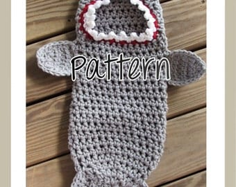 Crochet Pattern, Newborn, Shark, Swaddle, Cocoon, Photo Prop, PDF, Instant Download