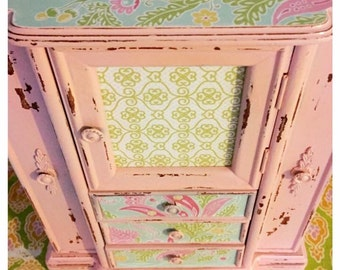 Upcycled Painted Pink Floral Jewelry Box