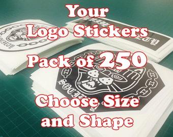 Custom Logo Stickers Pack of 250 Your Logo Design Vinyl Sticker Prints MM-201