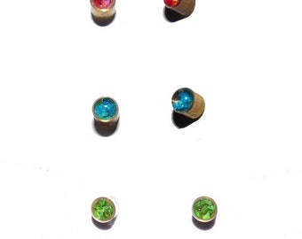 Stud earrings tiny Earrings minimalist dried flower petals red pink blue botanical real dry plant resine costume jewelry women children