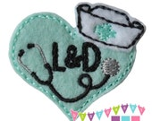 Nurse Heart - L&D - You CHOOSE Felt Color - Embroidered Embellishment Clippie Cover SET of 4  Multiple Sets Available
