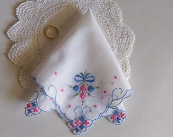 Wedding Shower Gift Bridal Handkerchief Something Old and Something Blue Bride's Vintage Hanky for Happy Tears with Gift Envelope