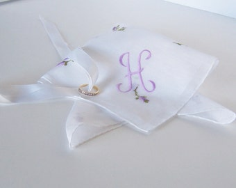Bridal Shower Gift Wedding Handkerchief Monogrammed H Vintage, Bride's Antique Hanky in Sheer White with Lavender Embroidery Something Old