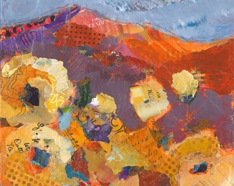 Mountains with Sunflowers, original landscape painting in mixed media