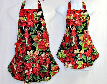 CHRISTMAS Aprons Mommy & Me Set, FLOWER Fairies, RUFFLED Flounce, Mother Daughter, Pretty Kitchen Gift