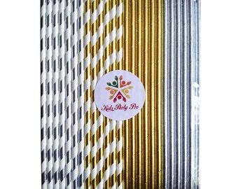 Free shipping paper straws gold foil paper straws foil silver straws 19.7cm L 4 colors U pick 100pcs