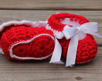 Crochet Baby Booties, Red Baby Booties, Baby Slippers, Crochet Booties, Baby Booties, Newborn Booties, Newborn Slippers, Mrs Vs Crochet,