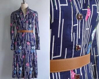 20% CNY SALE - Vintage 80's Poppy Floral Maze Op Art Navy Blue Shirt Dress XS or S