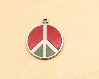 Red and Green Peace Sign Charm