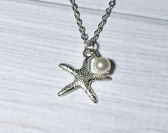 Starfish Pearl Necklace Christmas Gift Stocking Stuffer Women's Necklace Gift Bridesmaid Necklace Wedding Mom Girlfriend Friend