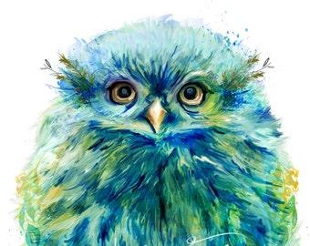 "Adorable Owl Painting ""Fiji"" Mixed Media Wall Decor Art Canvas Gallery Wrap"