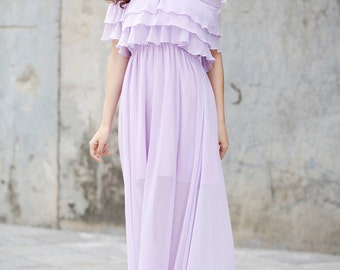 Light Purple Beach Dress , Chiffon Party Dress, Bridesmaid Dress - NC731