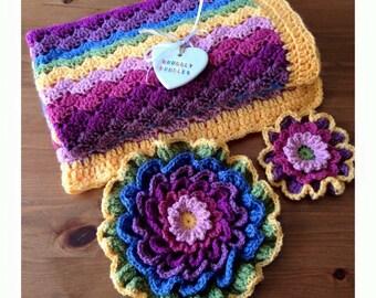 Snuggly Handmade Crochet Shells Baby Blanket