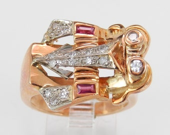 Antique Ring Retro Diamond and Ruby Ring Statement Ring 18K Pink Rose Gold Size 7.5 Circa 1940's