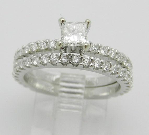 1.32 ct Princess-Cut Diamond Engagement and Wedding Ring Set 18K White Gold Size 6.5